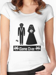 GAME OVER AFTER WEDDING MARRIAGE Women's Fitted Scoop T-Shirt