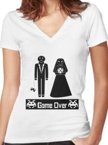 GAME OVER AFTER WEDDING MARRIAGE Women's Fitted V-Neck T-Shirt