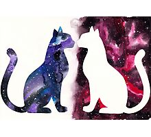 Galaxy Cats, Blue Silhouette and Red Space Photographic Print