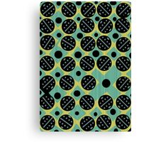 70s style circles pattern in green, black and yellow Canvas Print