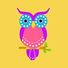 Owl Dots Throw Pillows Yellow by Vitta