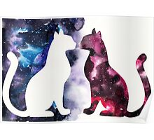 Galaxy Cats, Red Silhouette and Blue Space Poster