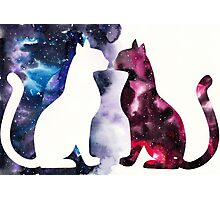 Galaxy Cats, Red Silhouette and Blue Space Photographic Print
