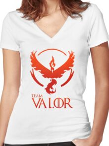 Pokemon Go: Team Valor Women's Fitted V-Neck T-Shirt