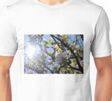 Spring Buzz - sun silhouette flowers and bee Unisex T-Shirt