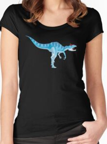 Ice Blue Cryolophosaurus - Digital Painting Women's Fitted Scoop T-Shirt