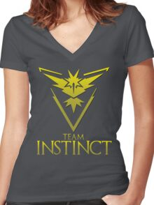 Pokemon Go: Team Instinct  Women's Fitted V-Neck T-Shirt
