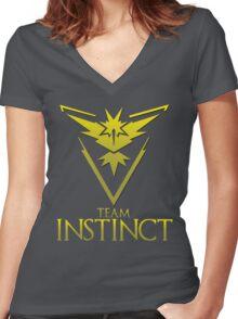 Pokemon Go: Team Instinct  Women's Fitted V-Neck T-Shirt