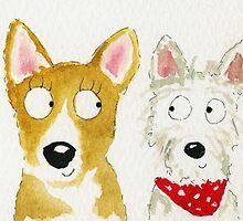 Sian The Corgi And Teddy The Westie by archyscottie