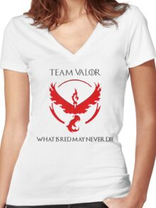 Team Valor Design - Pokemon GO Women's Fitted V-Neck T-Shirt
