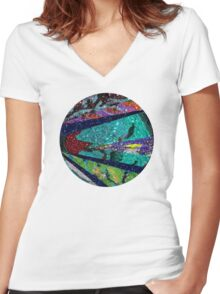 Turquoise Sun Women's Fitted V-Neck T-Shirt