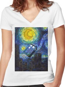 tardis the starry night Women's Fitted V-Neck T-Shirt