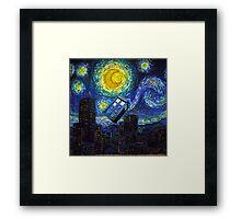 tardis the starry night Framed Print