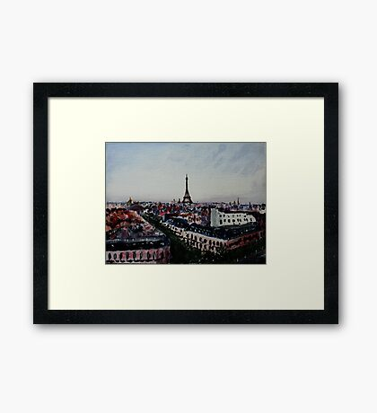 Paris Eiffel Tower French Cityscape Acrylic Painting Framed Print