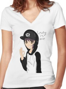Leafyishere  Women's Fitted V-Neck T-Shirt