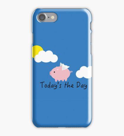 When pigs fly (dark blue) iPhone Case/Skin