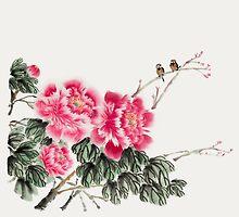 Peony Blossom with Birds by artgarden