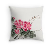Peony Blossom with Birds Throw Pillow