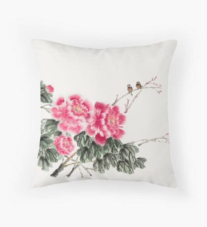Peony Blossom with Birds Throw Pillow
