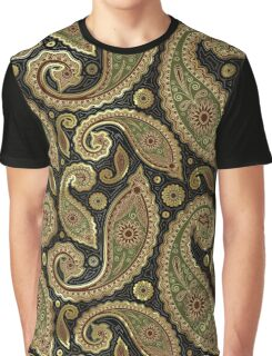 Pastel Brown Tones Vintage Paisley With Touch Of Gold Graphic T-Shirt