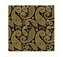 Pastel Brown Tones Vintage Paisley With Touch Of Gold Art Print