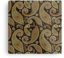 Pastel Brown Tones Vintage Paisley With Touch Of Gold Metal Print