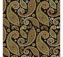 Pastel Brown Tones Vintage Paisley With Touch Of Gold Photographic Print