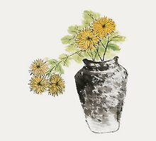Chrysanthemum Flowers in Pot by artgarden
