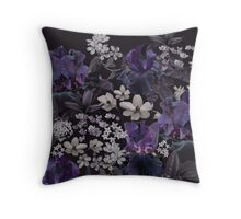 Dark Floral Ilustration Throw Pillow