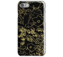 Black and Gold Outlined Floral Pattern iPhone Case/Skin