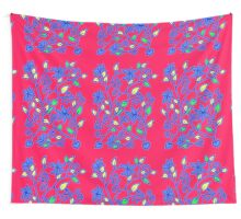Floral pattern in red and really blue Wall Tapestry