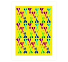 80s style very bright scissors pattern Art Print