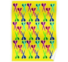 80s style very bright scissors pattern Poster
