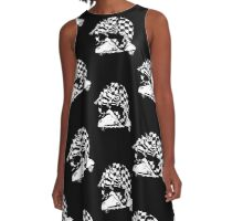 Black and white check fifties scooter couple A-Line Dress
