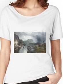 Thomas Moran - The Wilds Of Lake Superior. Mountains landscape: mountains, rocks, rocky nature, sky and clouds, trees, peak, forest, rustic, hill, travel, hillside Women's Relaxed Fit T-Shirt