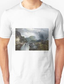 Thomas Moran - The Wilds Of Lake Superior. Mountains landscape: mountains, rocks, rocky nature, sky and clouds, trees, peak, forest, rustic, hill, travel, hillside Unisex T-Shirt