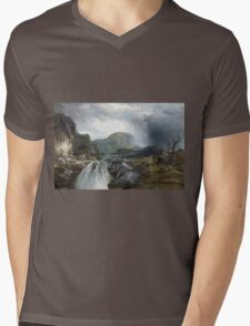 Thomas Moran - The Wilds Of Lake Superior. Mountains landscape: mountains, rocks, rocky nature, sky and clouds, trees, peak, forest, rustic, hill, travel, hillside Mens V-Neck T-Shirt
