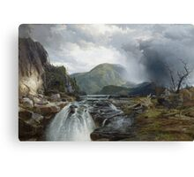 Thomas Moran - The Wilds Of Lake Superior. Mountains landscape: mountains, rocks, rocky nature, sky and clouds, trees, peak, forest, rustic, hill, travel, hillside Canvas Print