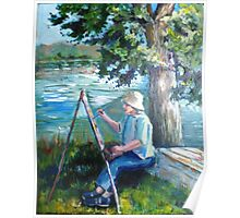 Painting by the river Poster