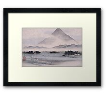 Utagawa Hiroshige - Fuji Marsh, Suruga Province, From Twelve Views Of Mt. Fuji. Mountains landscape: mountains, rocks, rocky nature, sky and clouds, trees, peak, forest, rustic, hill, travel, hillside Framed Print