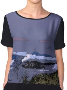 Mountains // Comic Style Chiffon Top