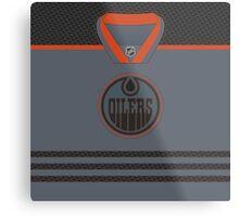 Edmonton Oilers Storm Cross Check Jersey Metal Print