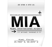 MIA Miami International Airport Call Letters Poster