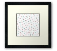Cute pastel pattern. Seamless pretty background.  Framed Print