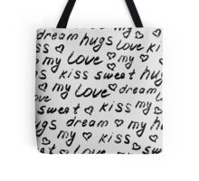 Love lettering seamless pattern.  Shabby background. Hand drawn words wallpaper.  Tote Bag