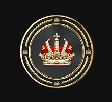 Holy Roman Empire Imperial Crown over Black Velvet Unisex T-Shirt