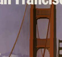 San Francisco United Air Lines Vintage Travel Poster  Sticker