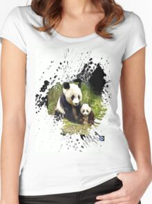 adorable pandas Women's Fitted Scoop T-Shirt
