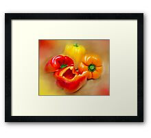 Yellow, Red and Orange Peppers Framed Print