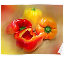 Yellow, Red and Orange Peppers Poster